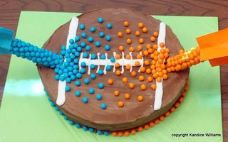 Superbowl anti gravity cake close